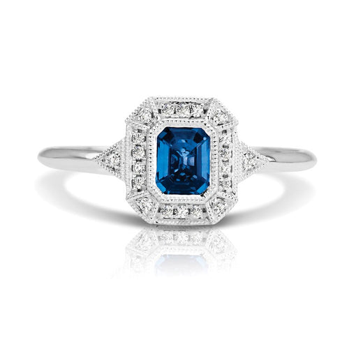Sapphire and Diamond Vintage Style Ring (RGJS1DR135-SA) Front