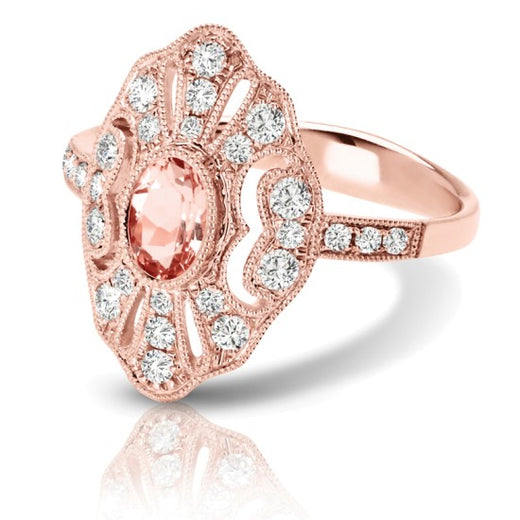 Morganite and Diamond Ring (RGJS1DR207) Side