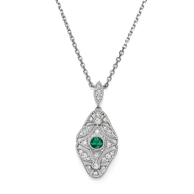 Emerald and Diamond Vintage Style Necklace (RGJS1NK178-EM) Front