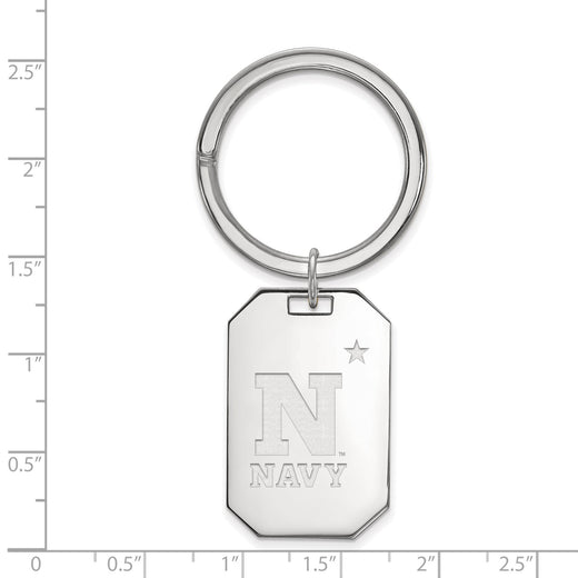 United States Naval Academy logo navy keychain in sterling silver. Size