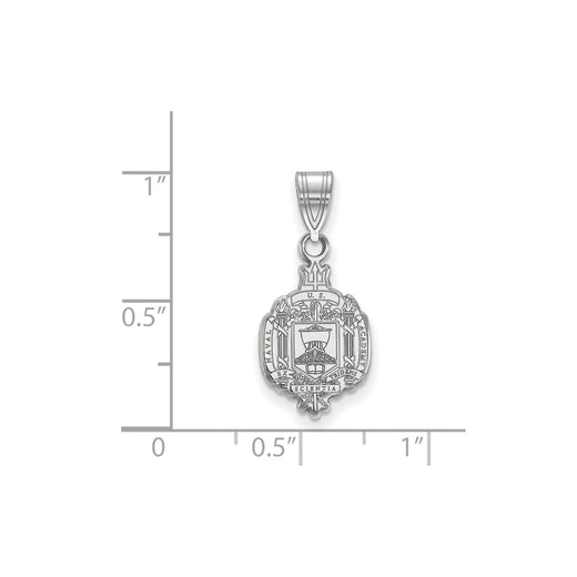 United States Naval Academy crest pendant charm in sterling silver and rhodium plated. Size