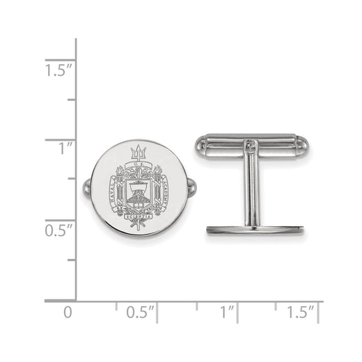 United States Naval Academy crest cufflinks in sterling silver and rhodium plated. Size