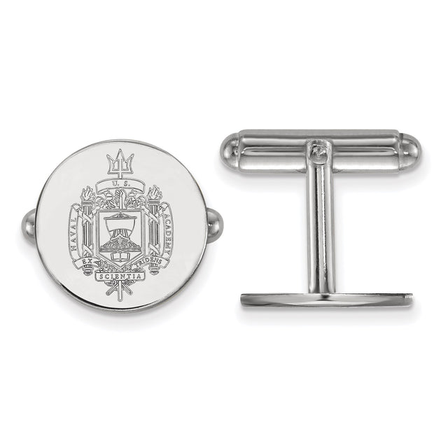 United States Naval Academy crest cufflinks in sterling silver and rhodium plated. Front