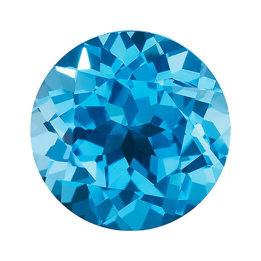 Loose Swiss Blue Topaz Gemstone Round