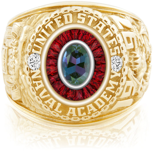 USNA Class Ring, Alexandrite, Eternal MX™ Ruby.