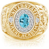 USNA Class Ring, Aquamarine, ProPlus M12™ Diamond.
