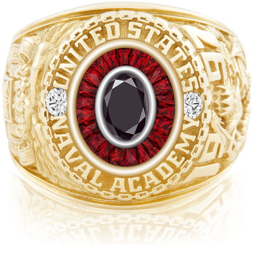USNA Class Ring, Black Diamond, Eternal MX™ Ruby.