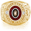USNA Class Ring, Black Star Sapphire, Eternal MX™ Garnet.