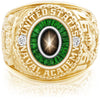 USNA Class Ring, Black Star Sapphire, Eternal MX™ Tsavorite.