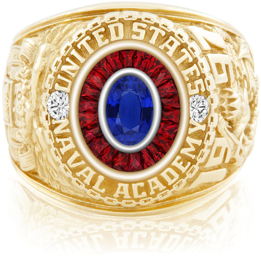 USNA Class Ring, Blue Sapphire, Eternal MX™ Ruby.