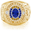 USNA Class Ring, Blue Sapphire, Pro M18™ Go Navy Low Tide Mod™.