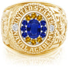 USNA Class Ring, Blue Sapphire, ProPlus M12™ Go Navy Low Tide Mod™.