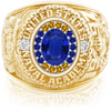 USNA Class Ring, Blue Sapphire, ProPlus M18™ Go Navy Low Tide Mod™.