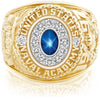 USNA Class Ring, Blue Star Sapphire, Pro M12™ Diamond.