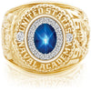 USNA Class Ring, Blue Star Sapphire, ProPlus M18™ Diamond.