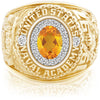 USNA Class Ring, Citrine, ProPlus M18™ Diamond.