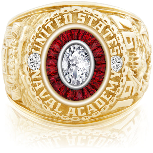 USNA Class Ring, Diamond, Eternal MX™ Ruby.