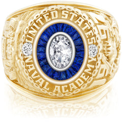 USNA Class Ring, Diamond, Eternal MX™ Sapphire.
