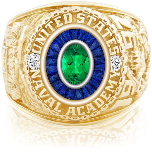 USNA Class Ring, Emerald, Eternal MX™ Sapphire.