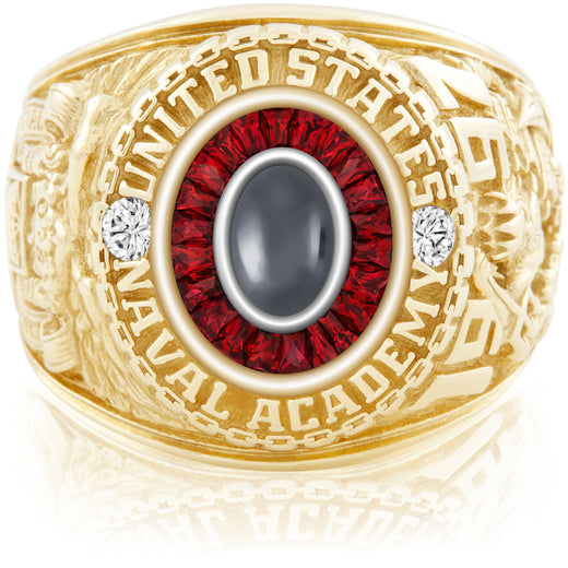 USNA Class Ring, Hematite, Eternal MX™ Ruby.