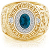 USNA Class Ring, London Blue Topaz, Pro M18™ Diamond.