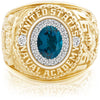 USNA Class Ring, London Blue Topaz, ProPlus M18™ Diamond.