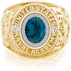 USNA Class Ring, London Blue Topaz, ProPlus M26™ Diamond.