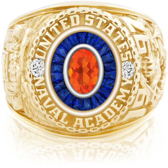 USNA Class Ring, Mexican Fire Opal, Eternal MX™ Sapphire.