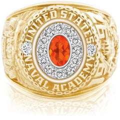 USNA Class Ring, Mexican Fire Opal, Pro M12™ Diamond.