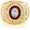 USNA Class Ring, Moissanite, Eternal MX™ Garnet.
