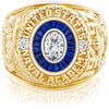 USNA Class Ring, Moissanite, Eternal MX™ Sapphire.