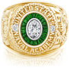USNA Class Ring, Moissanite, Eternal MX™ Tsavorite.