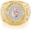 USNA Class Ring, Morganite, ProPlus M12™ Diamond.