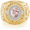 USNA Class Ring, Morganite, ProPlus M18™ Diamond.