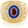 USNA Class Ring, Mozambique Garnet, Eternal MX™ Sapphire.