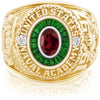 USNA Class Ring, Mozambique Garnet, Eternal MX™ Emerald.