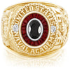 USNA Class Ring, Onyx, Eternal MX™ Garnet.