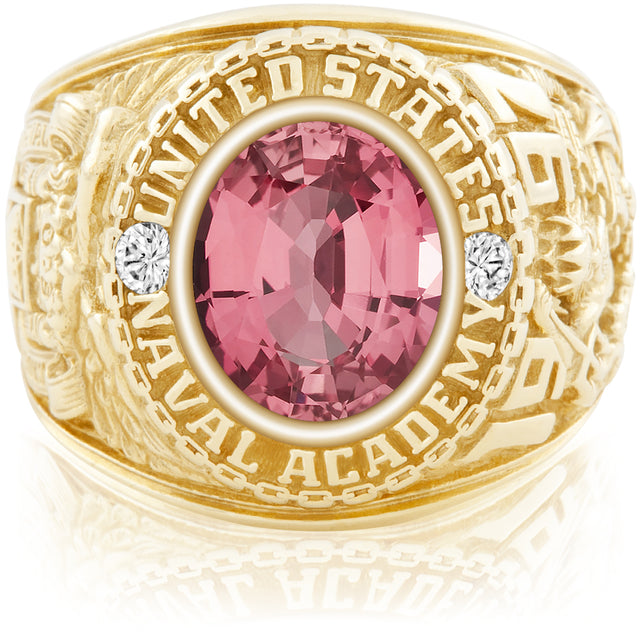 USNA Class Ring, Pink Sapphire, Classic M1™.