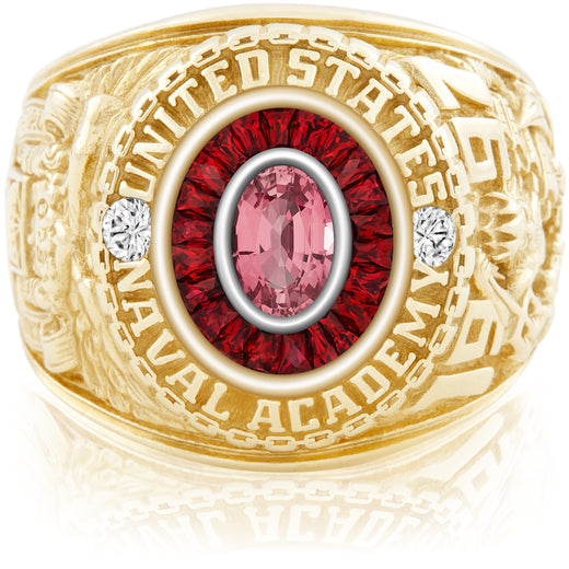 USNA Class Ring, Pink Sapphire, Eternal MX™ Ruby.