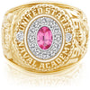 USNA Class Ring, Pink Spinel, Pro M12™ Diamond.