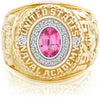 USNA Class Ring, Pink Spinel, Pro M18™ Diamond.
