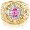 USNA Class Ring, Pink Spinel, ProPlus M12™ Diamond.