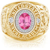 USNA Class Ring, Pink Spinel, ProPlus M18™ Diamond.