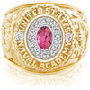 USNA Class Ring, Pink Tourmaline, Pro M12™ Diamond.