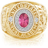 USNA Class Ring, Pink Tourmaline, Pro M18™ Diamond.