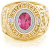 USNA Class Ring, Pink Tourmaline, Pro M26™ Diamond.