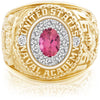 USNA Class Ring, Pink Tourmaline, ProPlus M12™ Diamond.