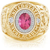USNA Class Ring, Pink Tourmaline, ProPlus M18™ Diamond.