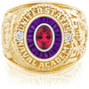 USNA Class Ring, Red Tourmaline, Eternal MX™ Amethyst.