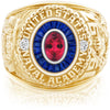 USNA Class Ring, Red Tourmaline, Eternal MX™ Sapphire.